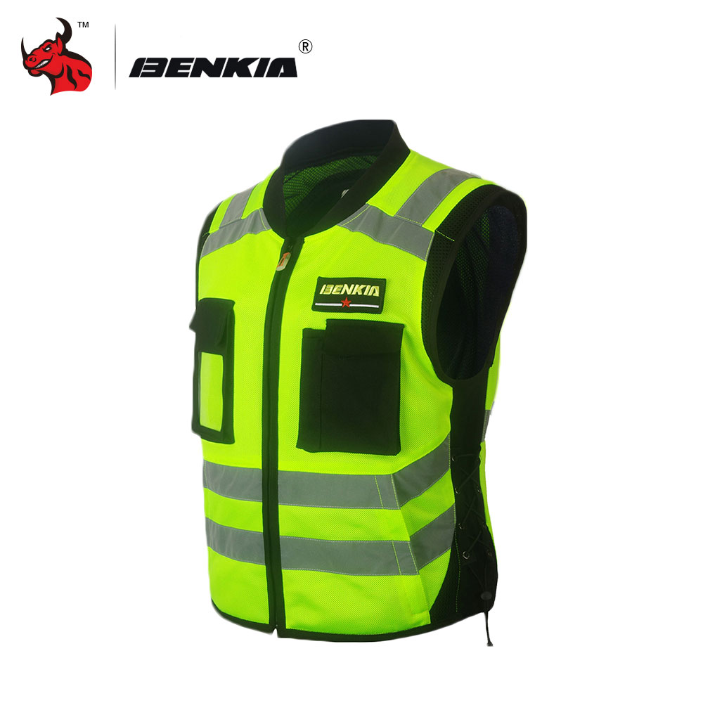 BENKIA Motorcycle Racing Reflective Vest Breathable Spring Summer Motorcycle Touring Night Riding Jacket chrome motorcycle accessories engine radiator bezel grille protector grille guard cover for kawasaki z900 2017