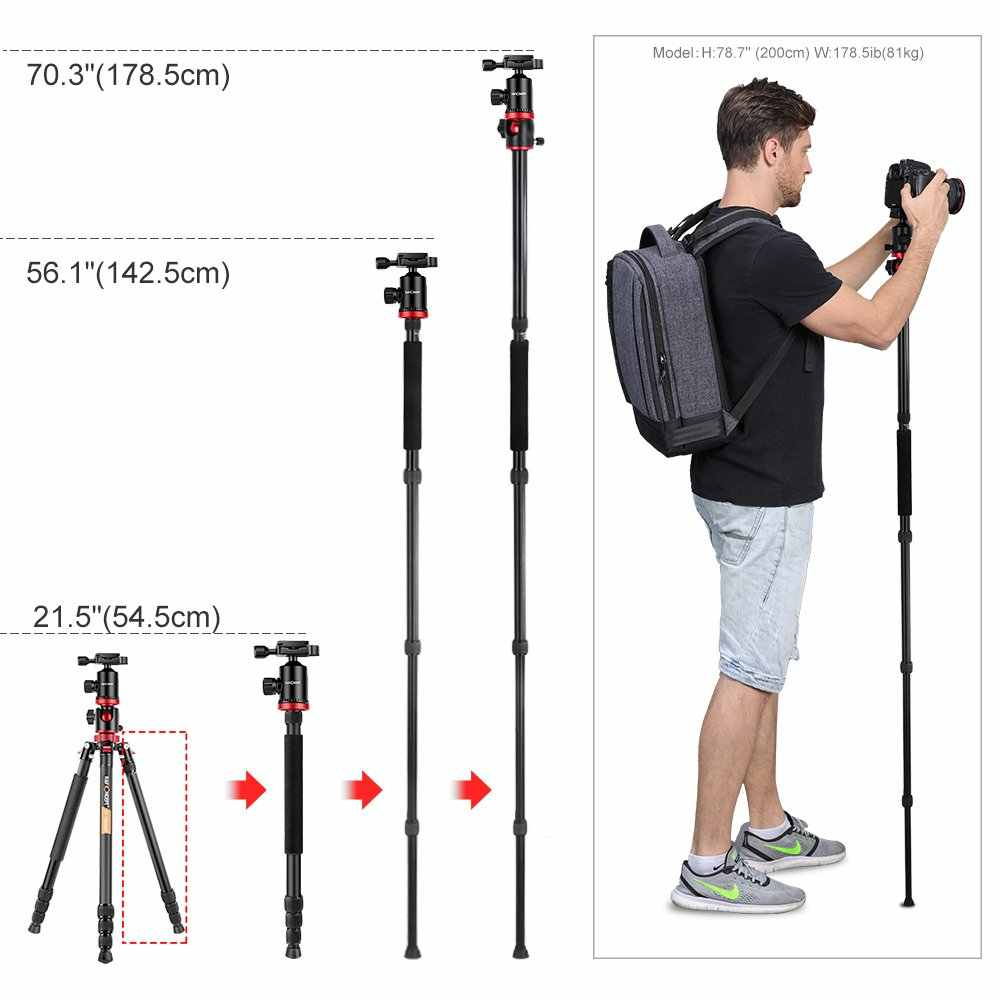 K & F Conceito TM2534T DSLR Camera 66' Magnésio Alumínio Tripé Monopé Tripés Profissionais W/360 ° Cabeça De Bola para Canon Nikon