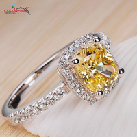 COLORFISH 2 Carat Luxury Rings For Women Engagement Wedding 925 Sterling Silver Cubic Zirconia Ring Yellow