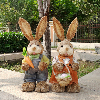 45cm high Mori straw rabbit. Simulation animal Easter rabbit decoration ornaments wedding shooting props,