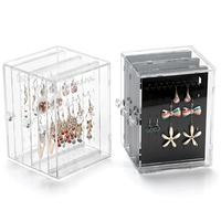 Acrylic Jewelry Storage Box Earring Organizer Display Necklace Holder With 3 Drawers