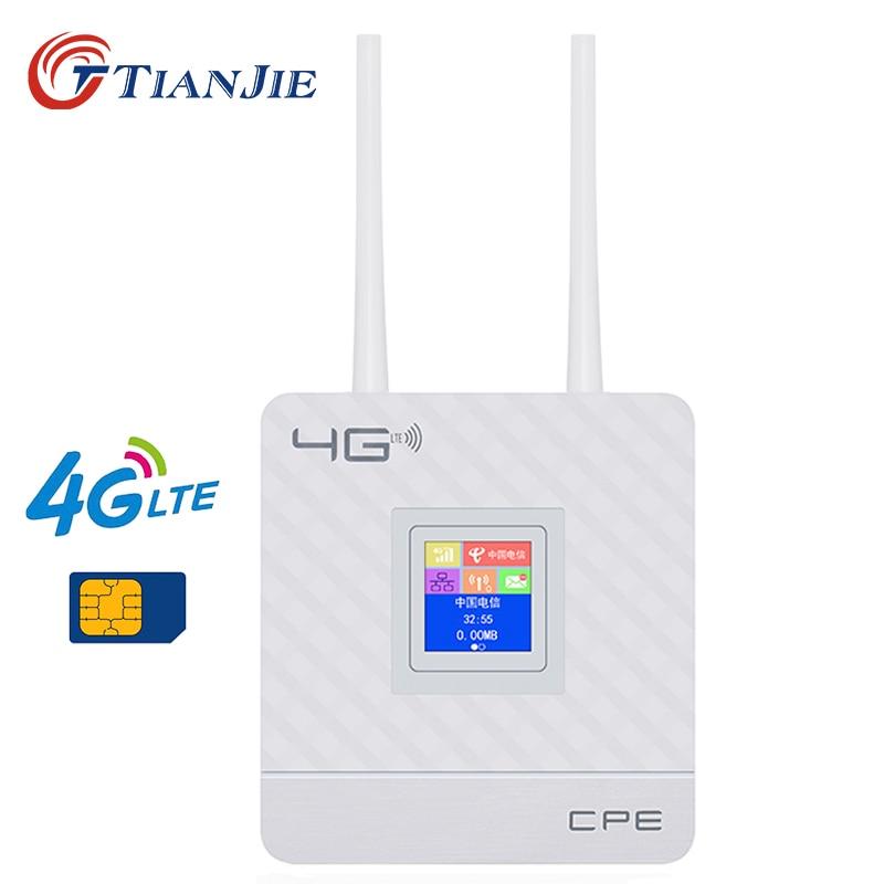 TIANJIE CPE903 Casa 3G 4G 2 Antenas Externas WIFI ROUTER WI-FI CPE roteador sem fio com 1 x RJ45 portos e 1 slot para cartão sim