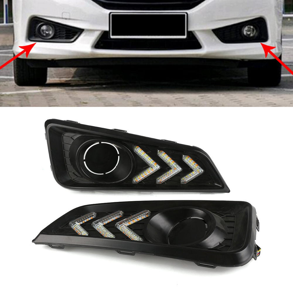 White Auto Car LED Lights DRL Driving Daytime Running Light Turn Signal Yellow Blue For Honda City 2015-2017 Free Shipping D35