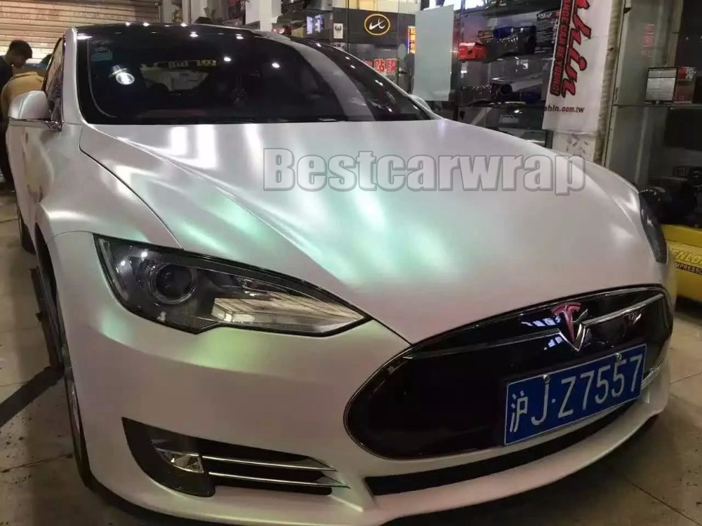 Nacre blanc mat satin perleffekt voiture film 300cm x 152cm lüftkanäle