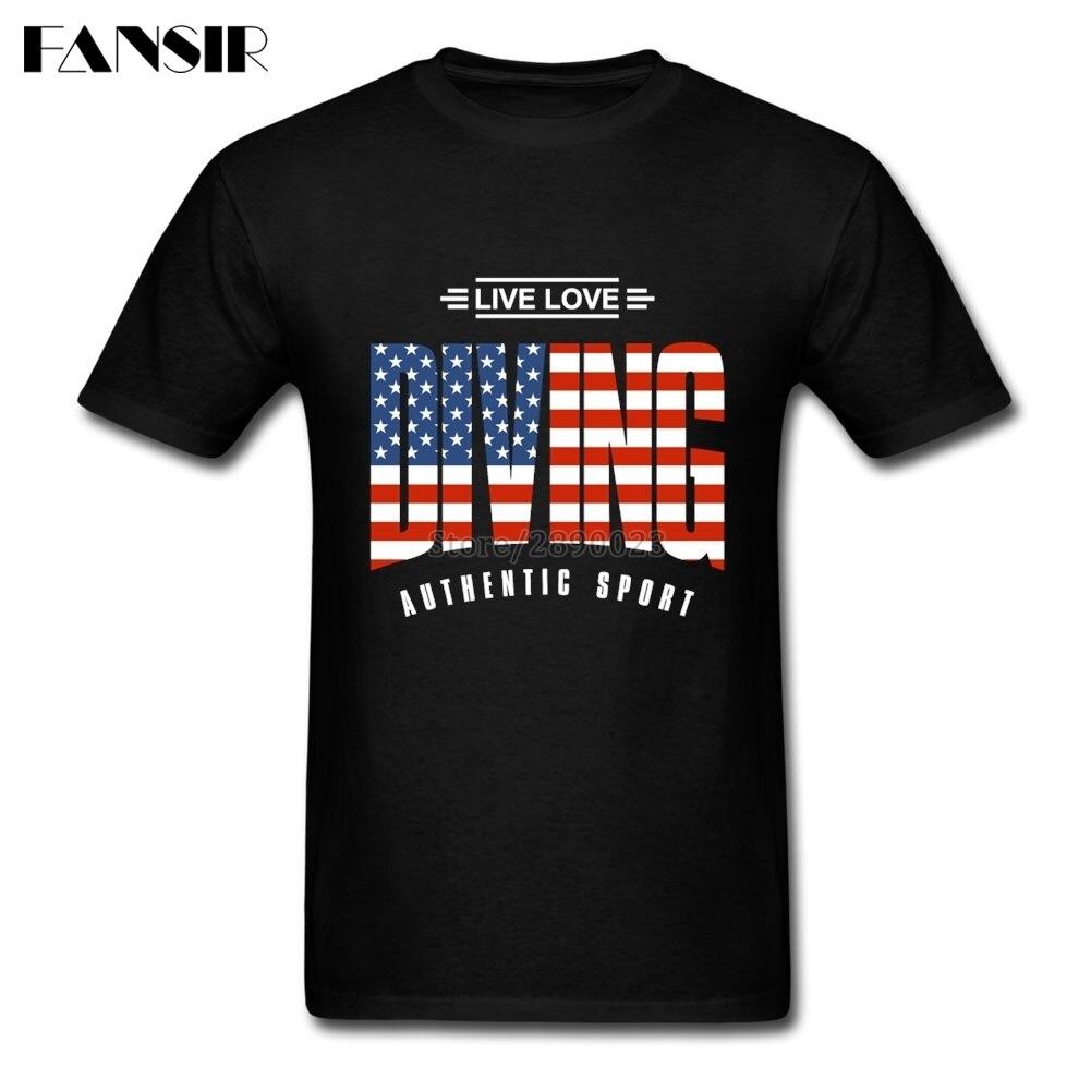 Хип-Хоп Футболка мужская жить люблю Дайвинг американский флаг США мужские футболки пользовательские хлопок короткий рукав Семейная Одежда...