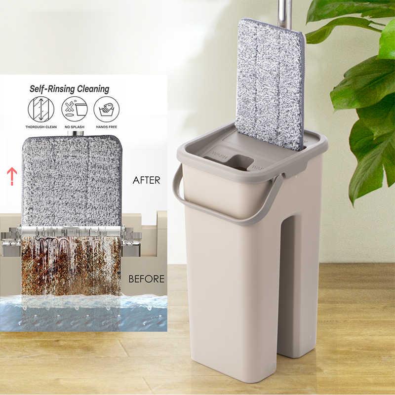 شقة ضغط ممسحة دلو نظام مع اليد شحن غسل ستوكات ممسحة منصات الفولاذ قطب من الفولاذ استخدام الارض الصلبة أدوات تنظيف