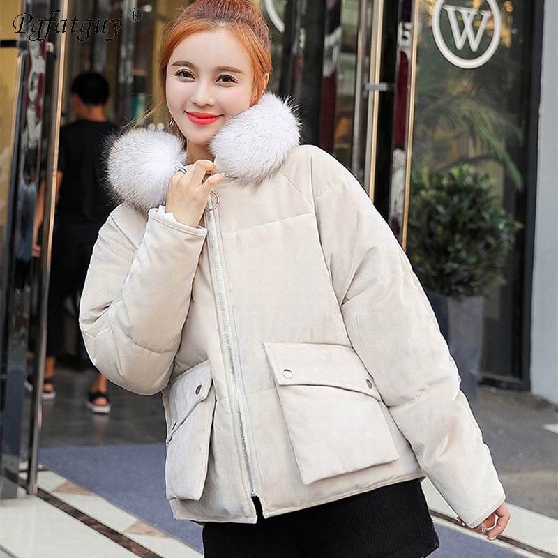 2bd0c6db32b8f Women Loose Jacket Parka 2018 Gold Velvet Autumn and Winter Snow Wear  Korean Cotton Down Short Black Coats Jackets Female Parkas-in Parkas from  Women s ...