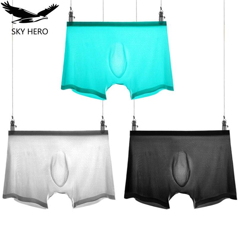 3pcs/lot Men's Ice Silk Underwear Boxer Homme Sexy Transparent Mens Boxers Underware Calzoncillos Underpants Boxershorts For Man