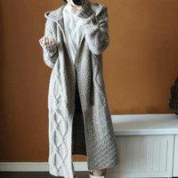 2018 Autumn Winter New Women Fashion Knitted Coat Braidered Hooded Long Sweater Oversized Sweater Cardigan Casual Jumper