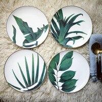 1 шт., Европейский тропический лес, керамическая тарелка, ручная работа, лист, Золотая инкрустация, фарфоровая сервировочная тарелка, тарелк...