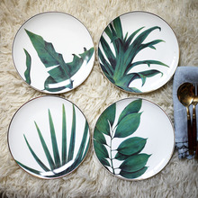 1pc European Rainforest Ceramic Plate Handcraft Leaf Gold Inlay Porcelain Serving Platter Steak Plates Dishes Home Kitchen Deco