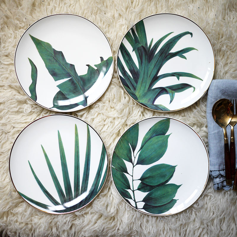 4pcs European Style Rainforest Gold Rim Spot Ceramic Plate Dish Fish Steak Western Dessert Jewelry Storage