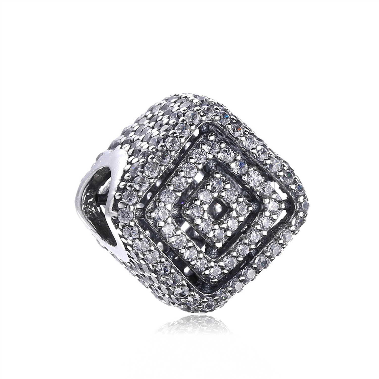 925 Sterling Silver Pave Dazzling CZ Square Openwork Charm Beads Fits Original Pandora Charms Bracelet DIY Jewelry Accessories