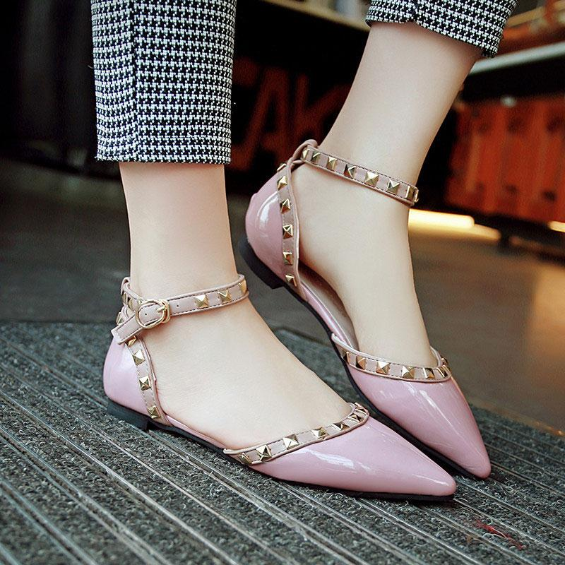 2017 Women Sandals Rivet Pointed Toe Hasp Flats Buckle Strap PU Leather Cover Heel Solid Shoes Summer Fashion Woman Sandals lankarin brand 2017 summer woman pointed toe flats ladies platform fashion rivet buckle strap flat shoes woman plus size