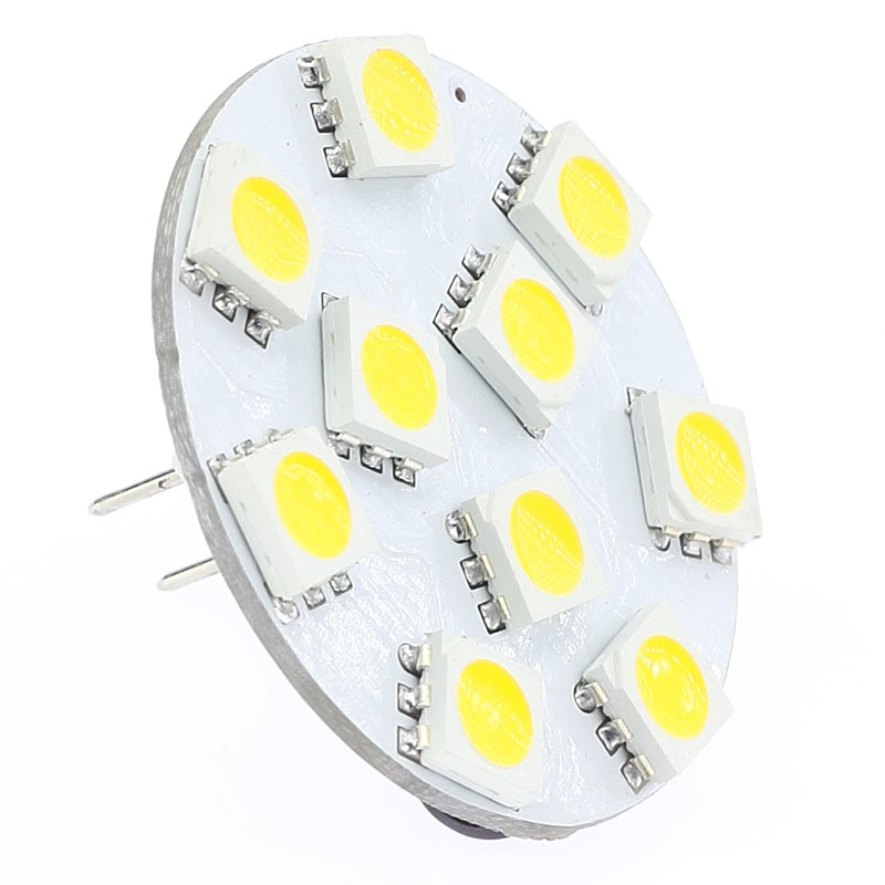 10 LED G4 Light Round Board SMD 5050 Wide Volt 12VDC 12VAC 24VDC 24VAC Back Pin White Warm White 5pcs/lot