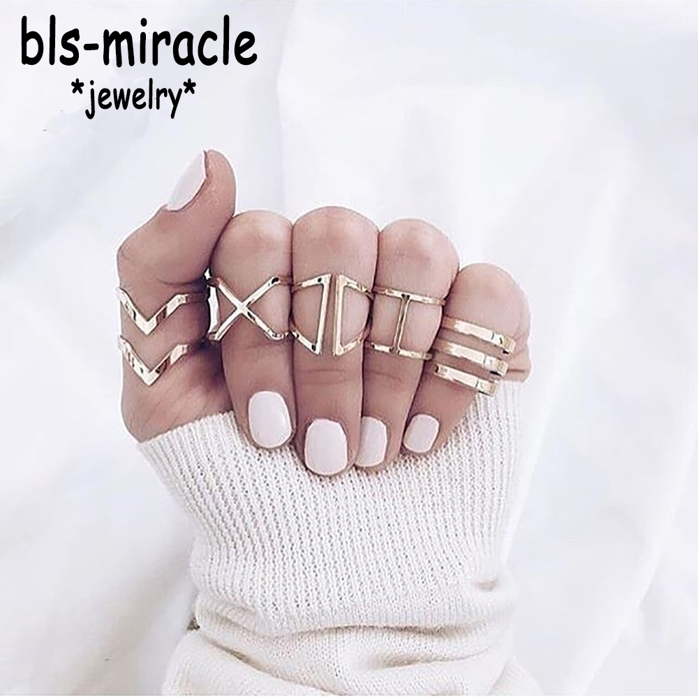 Bls-miracle 1 Sets=5 Pieces New Fashion Accessories Gold Color Geometry Set Ring Set for Women Girl Nice Gift Wholesale J-214