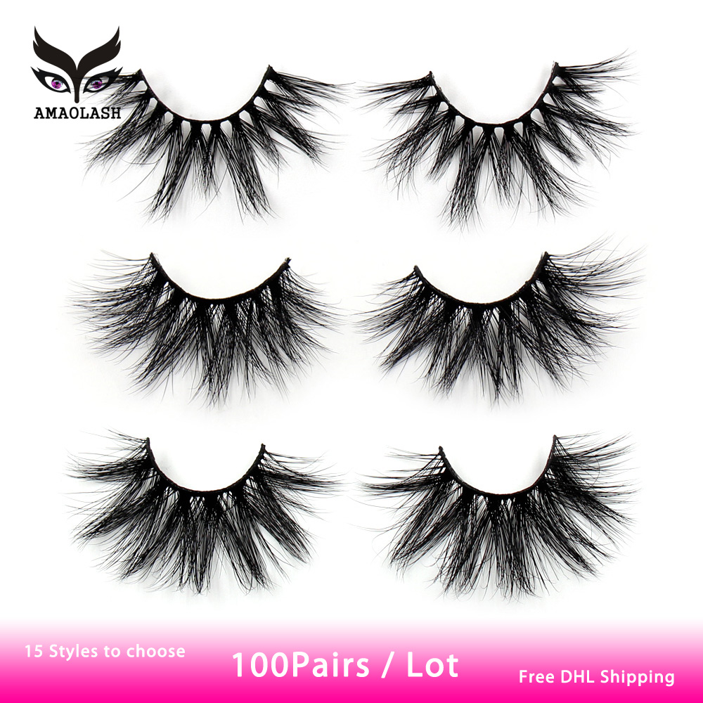 AMAOLASH 100 Pairs 5D Lashes Mink Eyelashes Natual Long 25mm Lashes Makeup Unique Fluffy Volume Eyelashes With Colorful Box