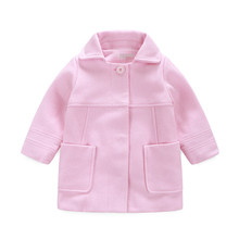 2016 Winter Pink Girls Wool Coat New Year Baby Girl Clothes 1pcs Fashion Children's Clothing Kids Girls Duffle Coat Wool Outwear