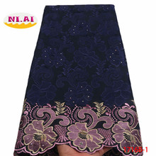2020 High Quality African Swiss Voile Lace Fabric With Stones Soft Embroidery Dry Voile Lace Materials In Switzerland XY1716B-1 cheap NI AI CN(Origin) Embroidered 100 Polyester Rhinestones 120cm to 130cm Eco-Friendly 2018 High Quality African Lace Fabric