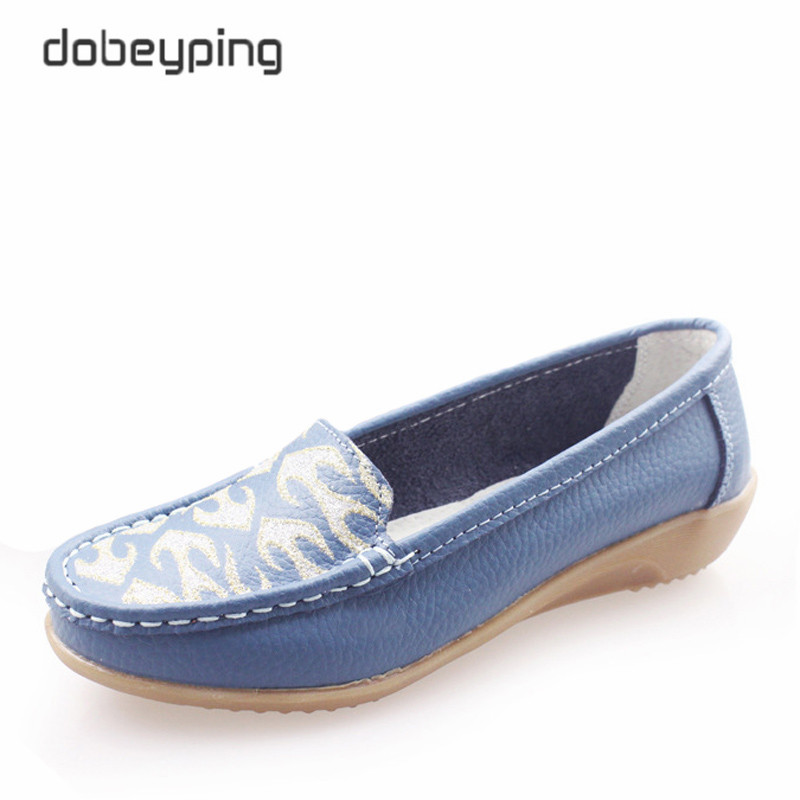 2017 Women's Casual Shoes Cow Leather Woman Flats Shoe Fashion Moccasins Female Loafers Slip On Boat Shoes Leisure Mother Shoe 2017 autumn new style cow leather women s casual shoes moccasins female flats shoe lace up woman loafers driving shoe size 35 43