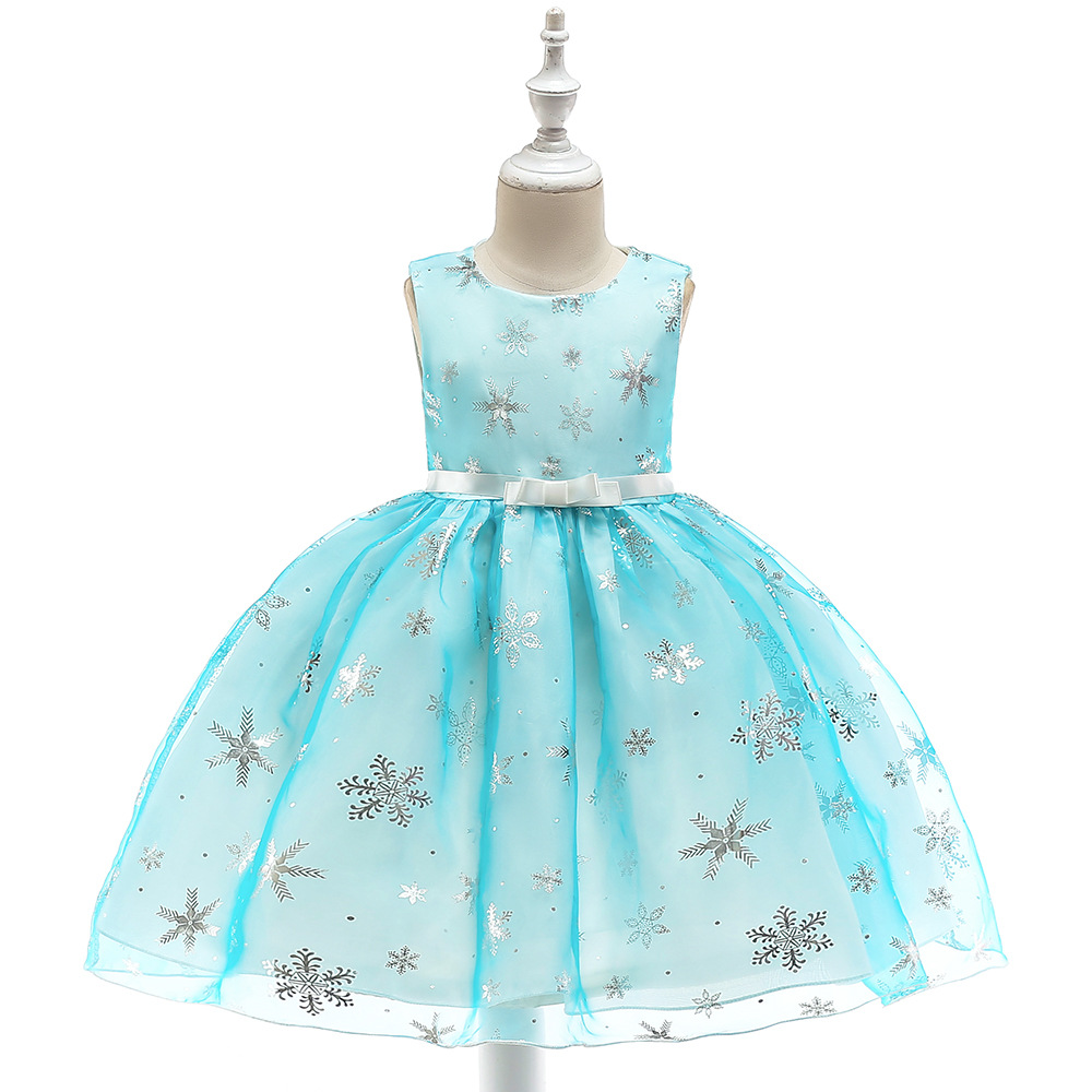 Sky Blue Pink Knee Length Elsa Party Frocks for Girls Glitter Snow Flake Little Girl Fashion Birthday Dress 4 Year To Size 12