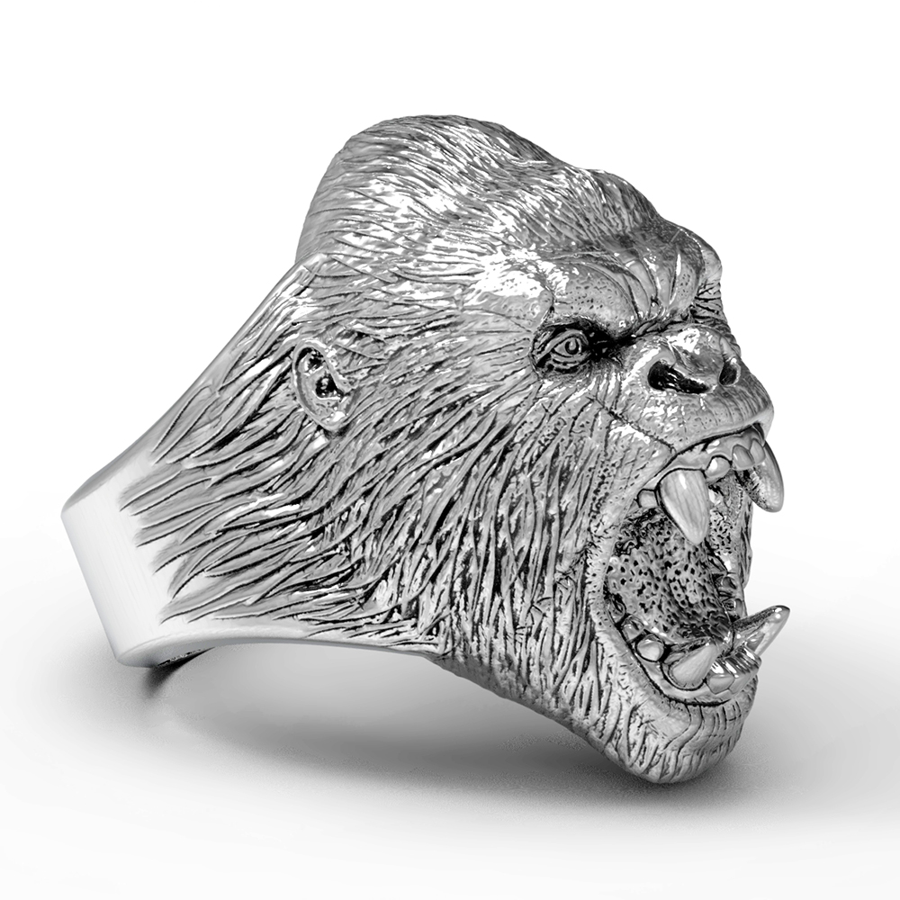 Men's Titanium steel Ring Vintage Animal Angry Gorilla Ring цена