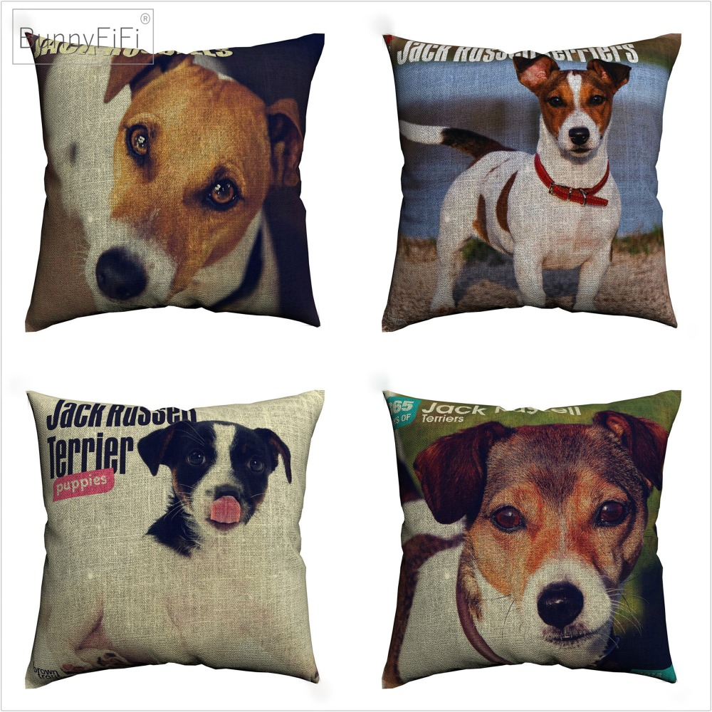 Jack Russell Terriers Pet Dog Style Decorative Cotton Linen Cushion Cover 45x45 Cm For Sofa Chair Pillowcase Home Decor Almofada