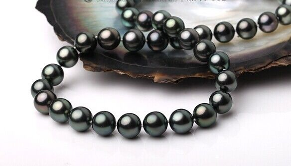 """19"""" Superb 18""""11-12mm Natural Tahitian genuine black round pearl necklace AA+ (0926)"""
