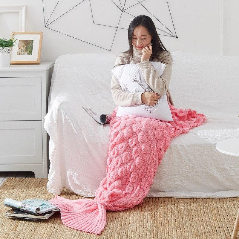 Mermaid Blanket Adult Mermaid Tail Blanket For Kids Fish Scale Knit Woolen Mermaid Blanket For
