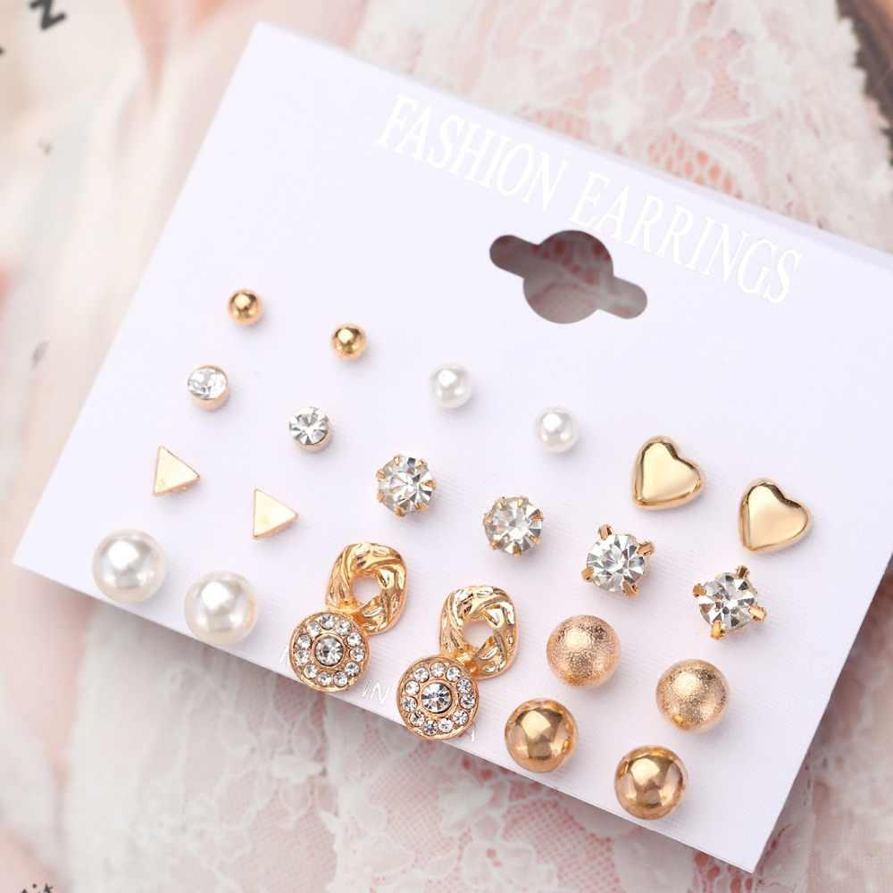Hesiod 12pairs Set Crystal Heart Stud Earrings Women Jewelry Simulated Pearl Small Earrings for Female Trendy Brincos