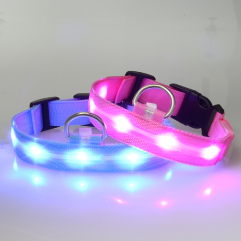 LED Collar Light-up Flashing Glow LED Collars S M L XL Pet Products Puppy Dog Collar Nyl ...