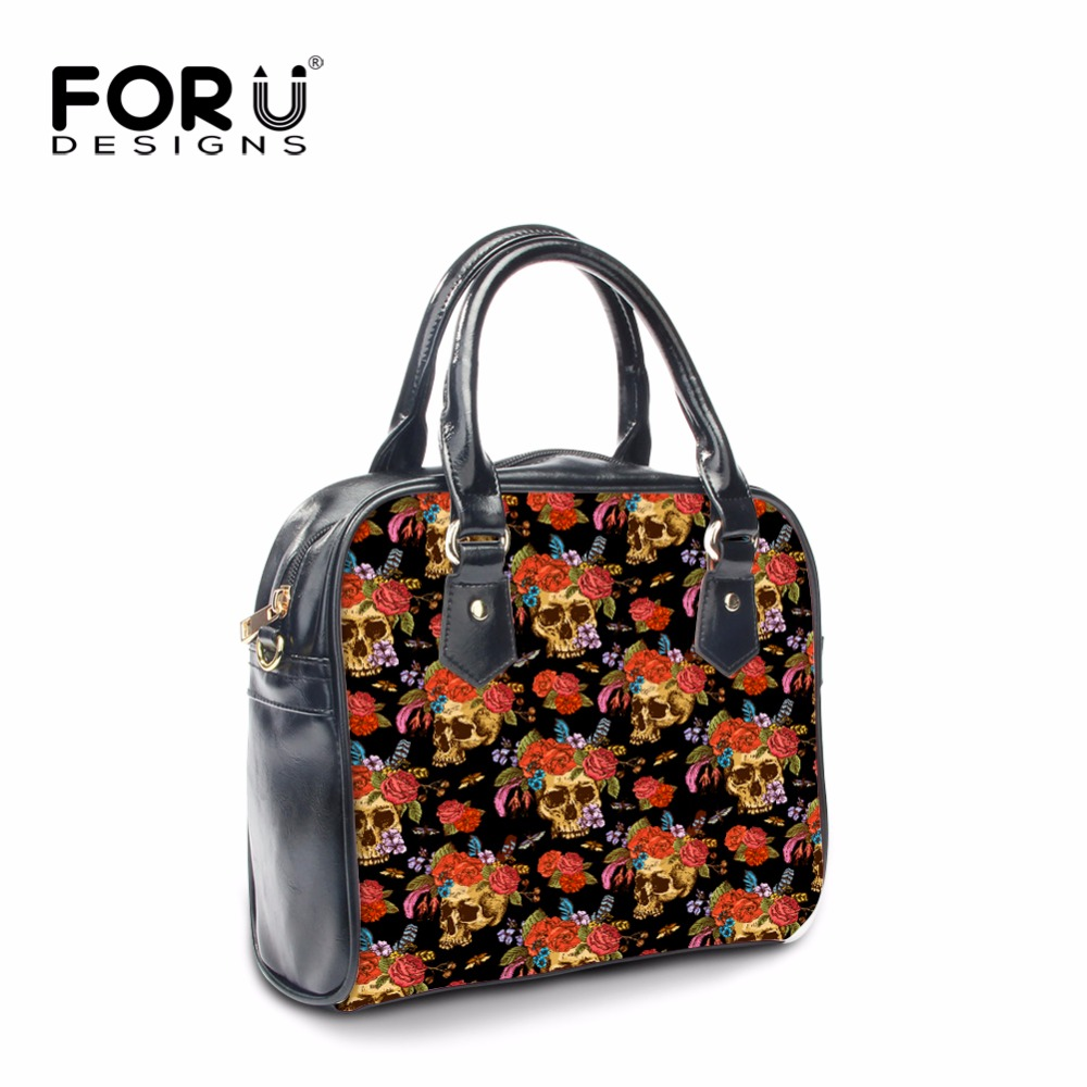 FORUDESIGNS Designer Women Messenger Bags,Skull printing Woman PU Leather Handbags Famous Brands,Ladies Crossbody Shoulder Bags halloween skull printing women crossbody shoulder bag pu leather skull design women messenger bags handbag and purses