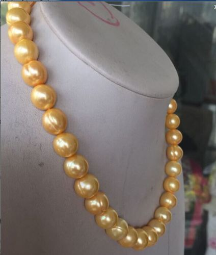 HUG Eelgant south sea 1812-13MM BAROQUE GOLD PEARL NECKLACE HUG Eelgant south sea 1812-13MM BAROQUE GOLD PEARL NECKLACE