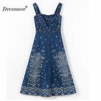Dressnow высокое качество Для женщин джинсы спагетти ремень платье лоскутное вышивкой Женские Толстые джинсы Длинные платья Dress6