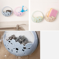 4color No-nail Multi-functional Sucker Soap Dish Bathroom Kitchen Wall-mounted Drain Suction Cup Hollow Soap Shelf Holder JXS 4
