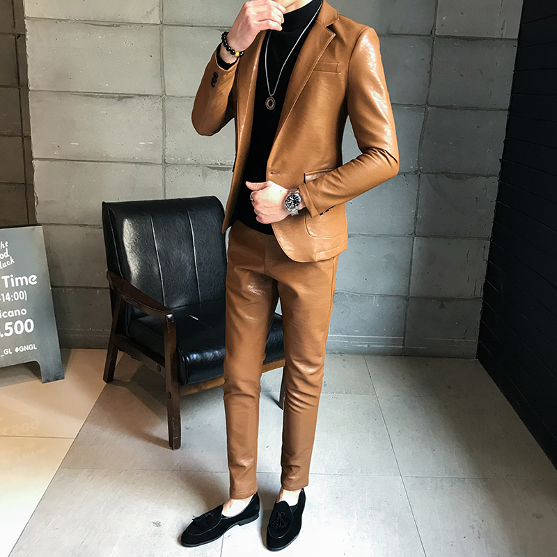 Men's New Leather Case Set Body PU Leather Fashion Business Casual Men's Leather Suit Autumn Jacket (top + Pants)