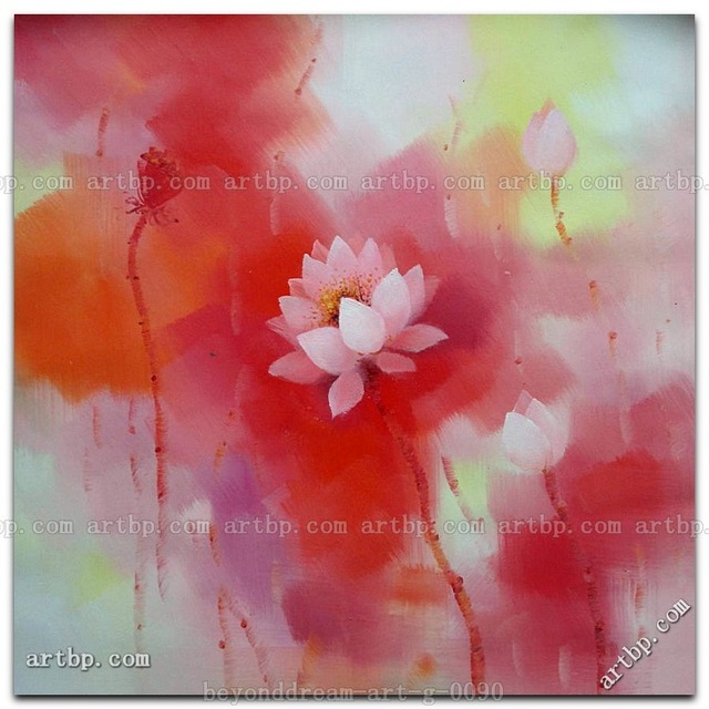 Pink Lotus Flowers In Summer Oil Painting Asian Flower Black White ...
