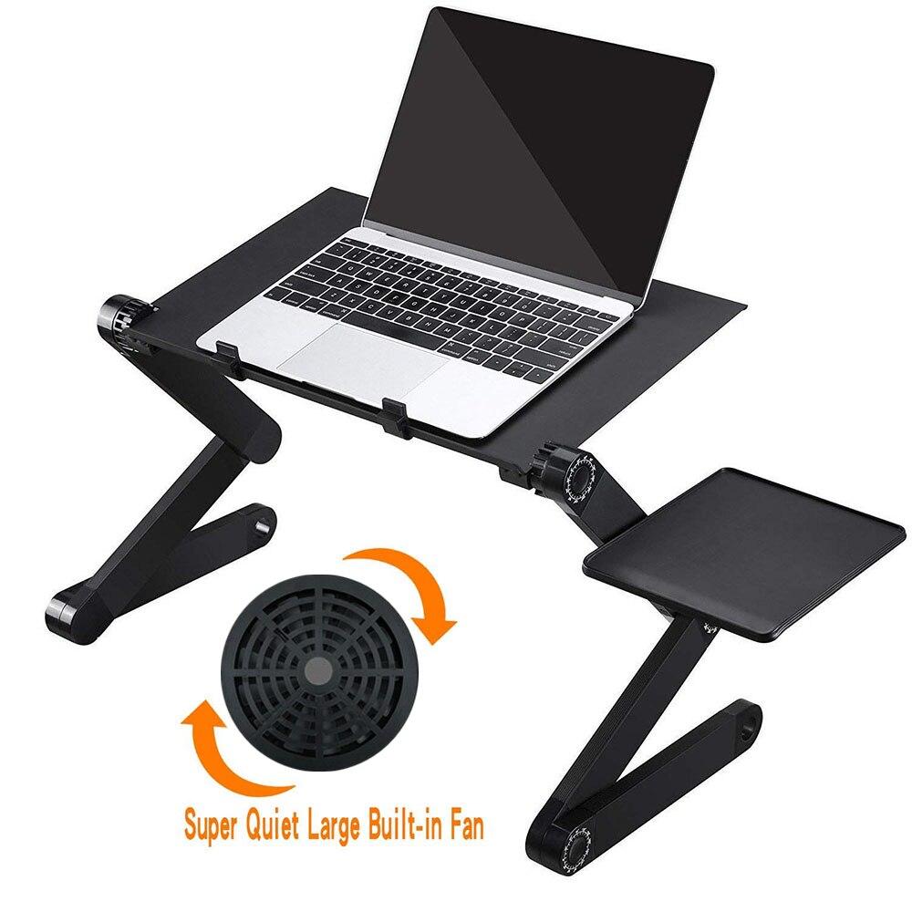 Mesa de mesa dobrável ajustável para laptop, portátil, mesa de computador para notebook, bandeja para sofá, cama preta com ventoinha