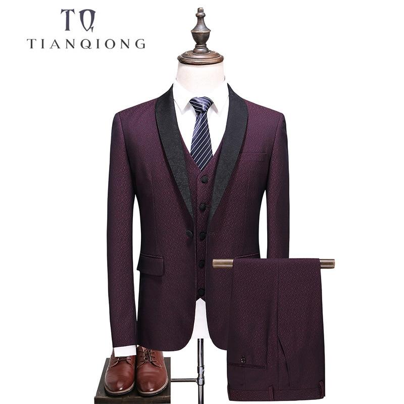 TIAN QIONG Brand Men Suit 2018 Wedding Suits For Men Shawl Collar Slim Fit Burgundy Suit Mens Red Tuxedo Jacket+Pants+Vest QT521