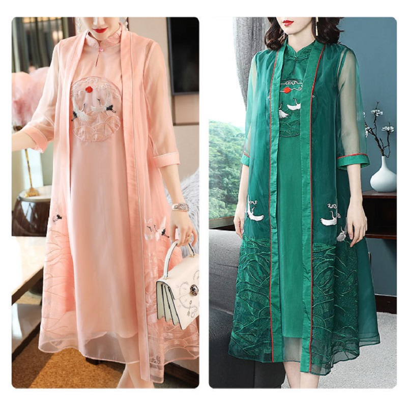 Top Quality Brand Clothing Suits Women Cute Birds Embroidery Vintage Qipao Dress+Elegant Long Cardigan Coat Jackets Set Female