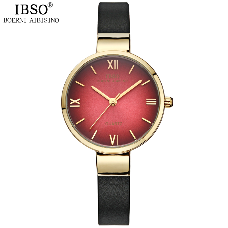 IBSO Women Watches 2017 High Quality Genuine Leather Strap Quartz Watch Women Fashion Ultra-thin Wristwatches Montres Femmes