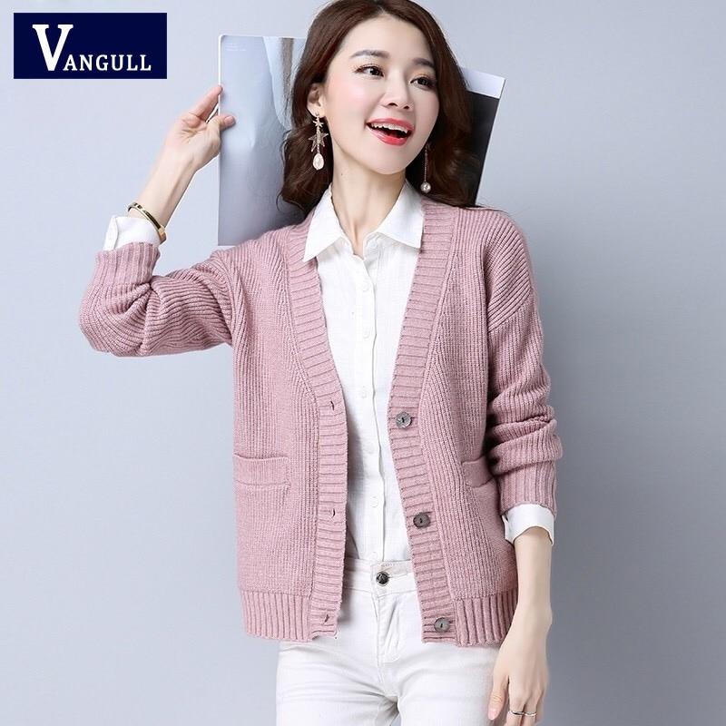 Vangull 2019 New Fashion Autumn Spring Women Sweater Cardigans Casual Warm Female Knitted Coat Cardigan Sweater Lady Elegant