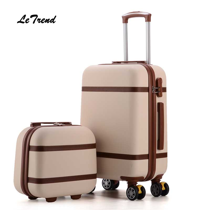 Letrend Vintage ABS+PC Rolling Luggage Set Spinner Trolley Women Travel Bag 20 inch Cabin Suitcases Wheel 24/26 inch Retro Trunk цена