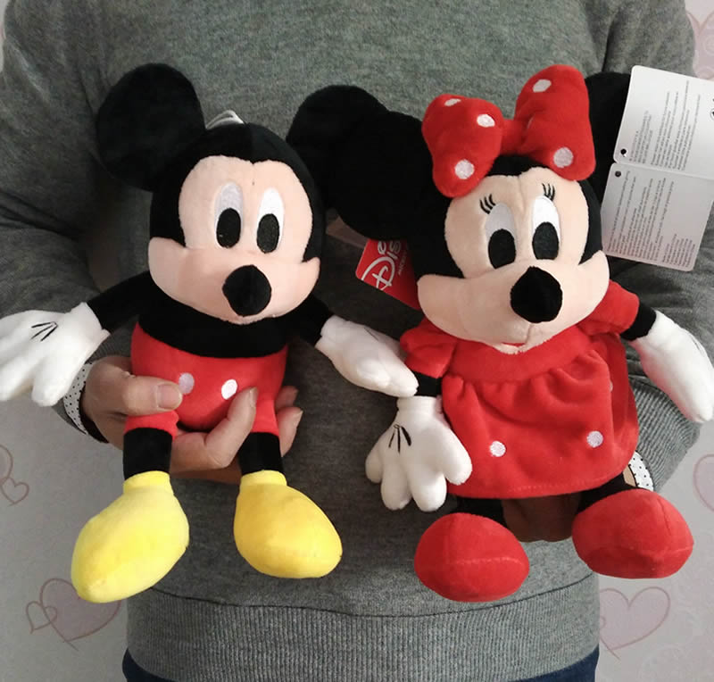 Free Shipping 30cm=11.8 1pair Mickey Mouse And Red Minnie mouse Stuffed Animals Plush Soft Toys Best gift for baby