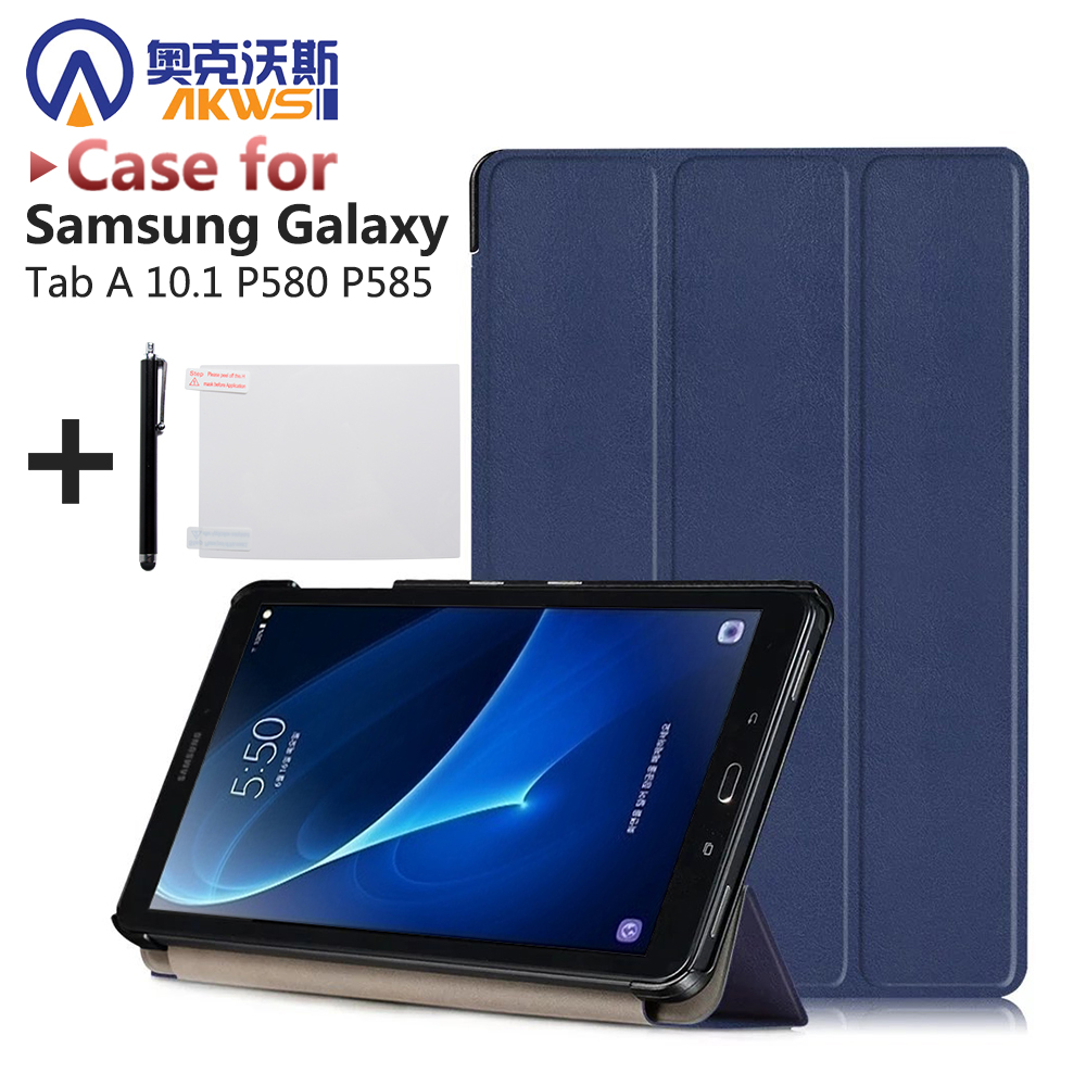 New folio PU Leather stand Cover for Samsung Galaxy Tab A with S-PEN P580 P585 P580N 10.1 inch tablet case+gift wireless bluetooth keyboard pu leather cover protective smart case for samsung galaxy tab s3 t820 t825 9 7 inch tablet gift
