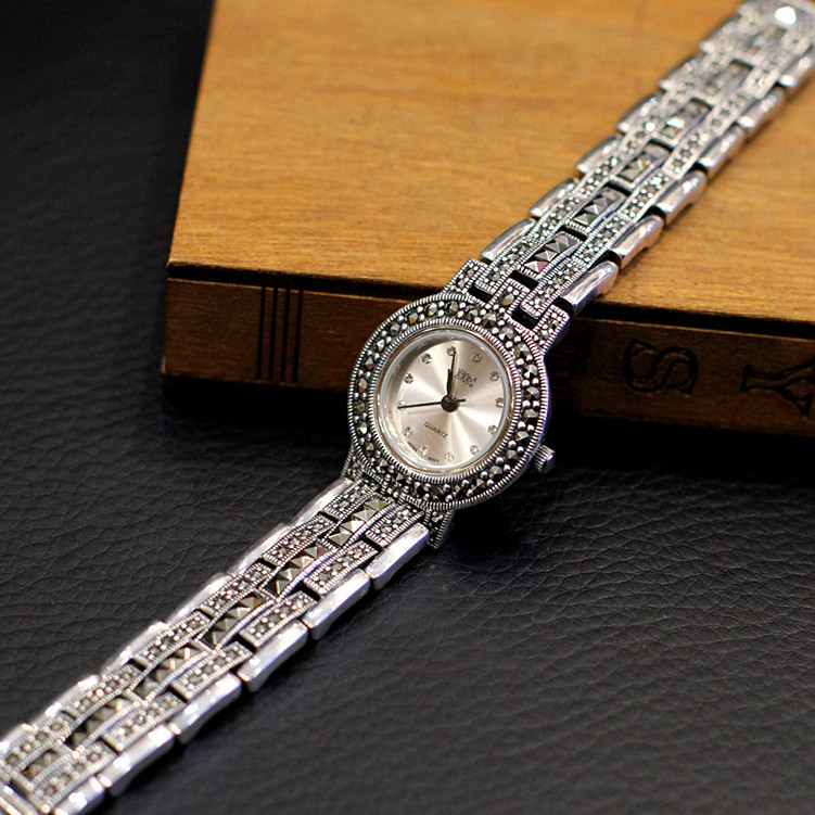 New Limited Edition Classic Elegant S925 Silver Pure Thai Silver Bracelet Watches Thailand Process Rhinestone Bussiness Watch