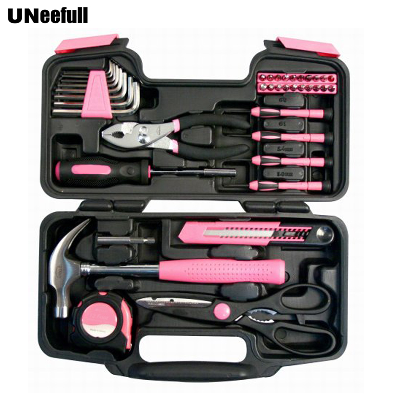 UNeefull 39 Piece General Repair Household Home Hand Tool Set with Tool Box Storage Case Pink Ribbon