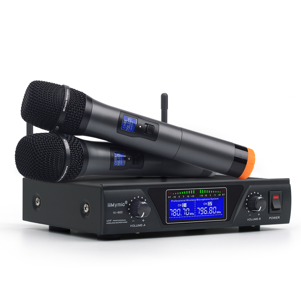 IU 602 UHF Dual Channel 2 Metall Handheld Mic Sender Professionelle Langstrecken Drahtlose Mikrofon System für Karaoke Rede-in Mikrofone aus Verbraucherelektronik bei