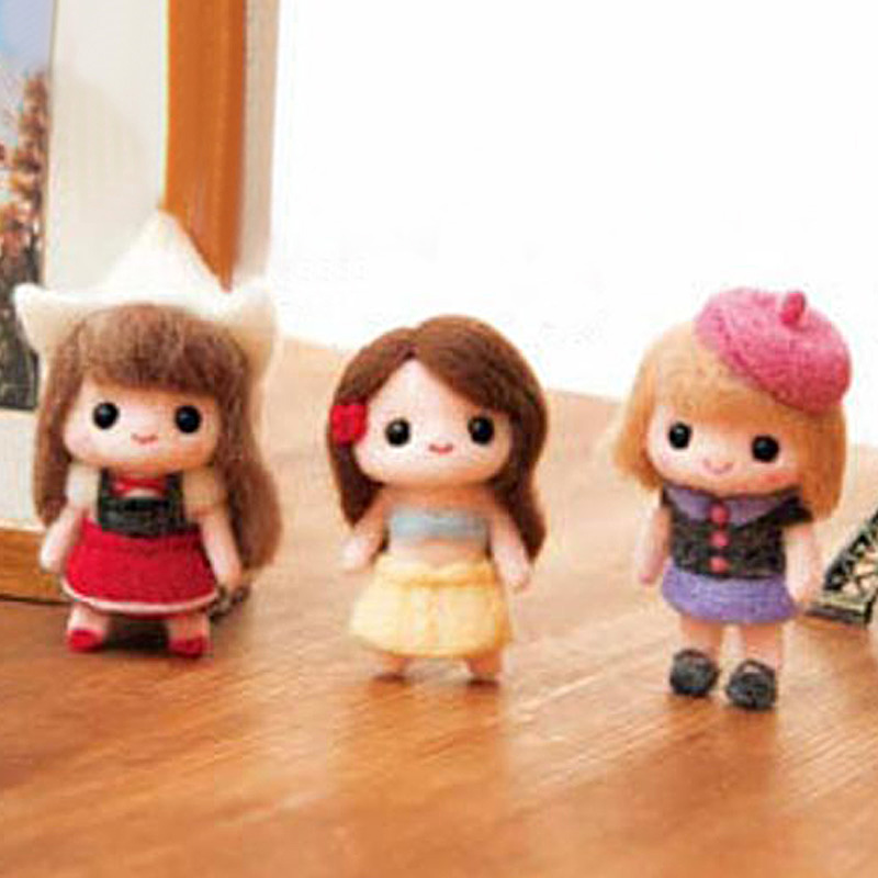 2019 Creative Lovely Girls Toy Doll Wool Felt Poked Kitting Non-Finished DIY Handcarft Wool Felting Material Package