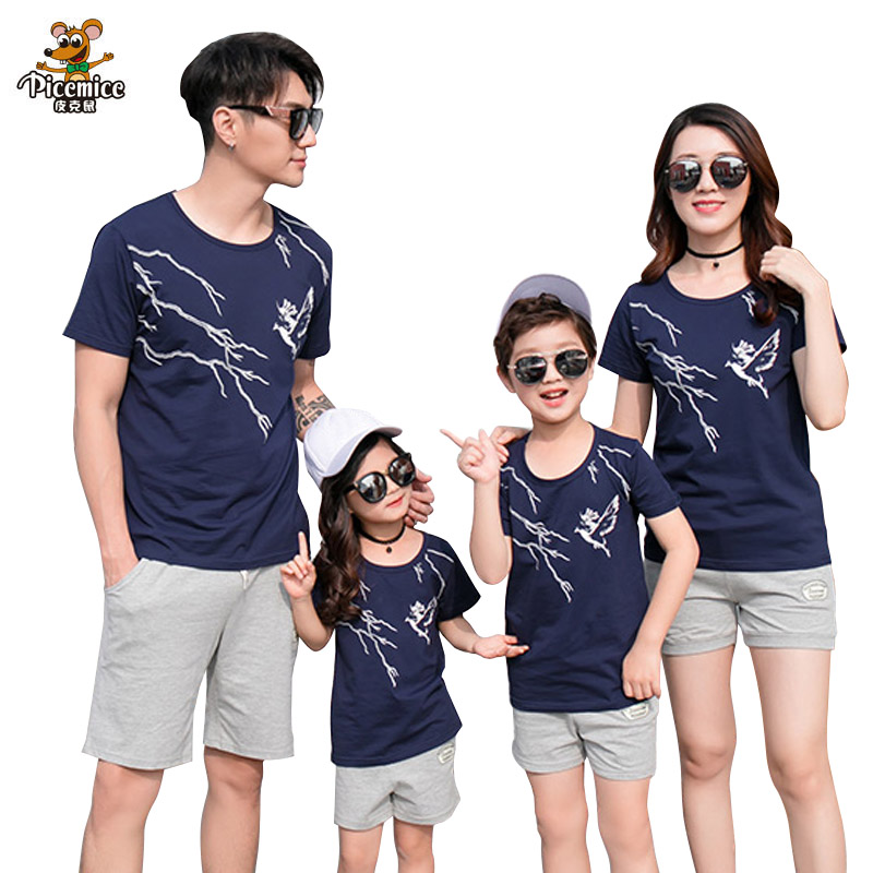 Family Matching Outfits 2019 Summer Fashion T-shirt Short pants for Father Son Mother Daughter Clothes Boy Girl Family Clothing
